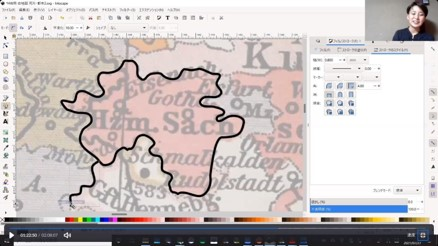 白地図に境界線を書き込む様子2