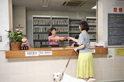 動物医療センター2F 待合での受付スタッフと飼い主